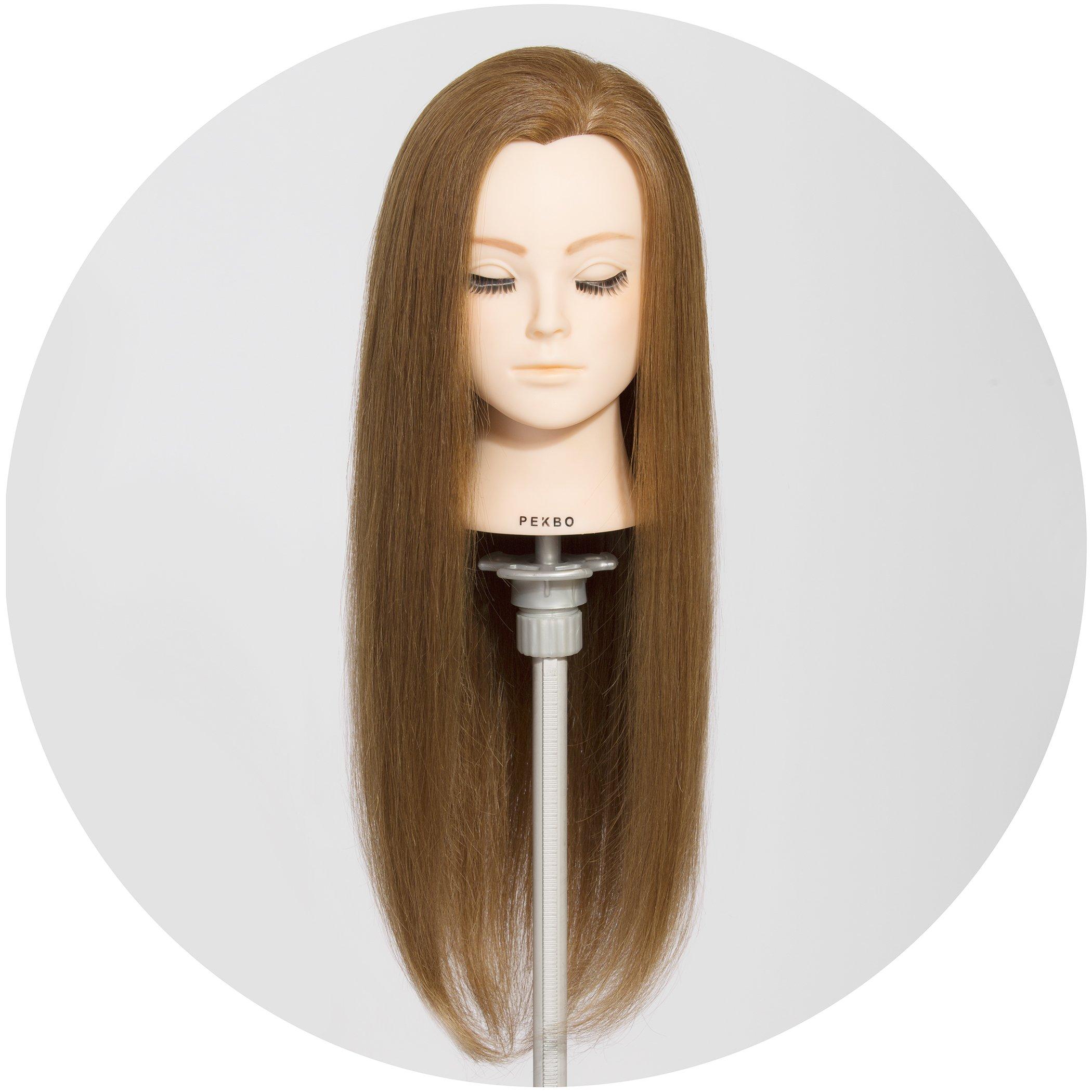 PEKBO 26 inch 100% Real Human Hair Mannequin Training Head Model (No Make up Kit)