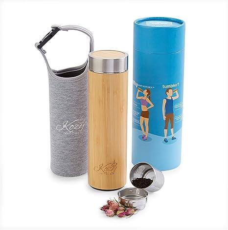 Amazon.com: Bambú orgánico vaso con infusor de té, tamiz por ...