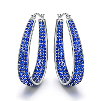 02b7fe7fa 18K White Gold plated Inside-Out CZ Hoop Earrings (Multiple Color/Stone  Options