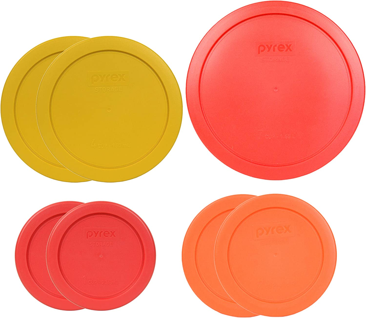 Pyrex (1) 7402-PC 6/7 Cup (2) 7201-PC 4 Cup (2) 7200-PC 2 Cup (2) 7202-PC 1 Cup Food Storage - 7 Piece Assorted Lids