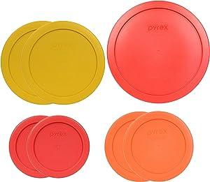 Pyrex (1) 7402-PC 6/7 Cup (2) 7201-PC 4 Cup (2) 7200-PC 2 Cup (2) 7202-PC 1 Cup Food Storage - 7 Piece Assorted Lids