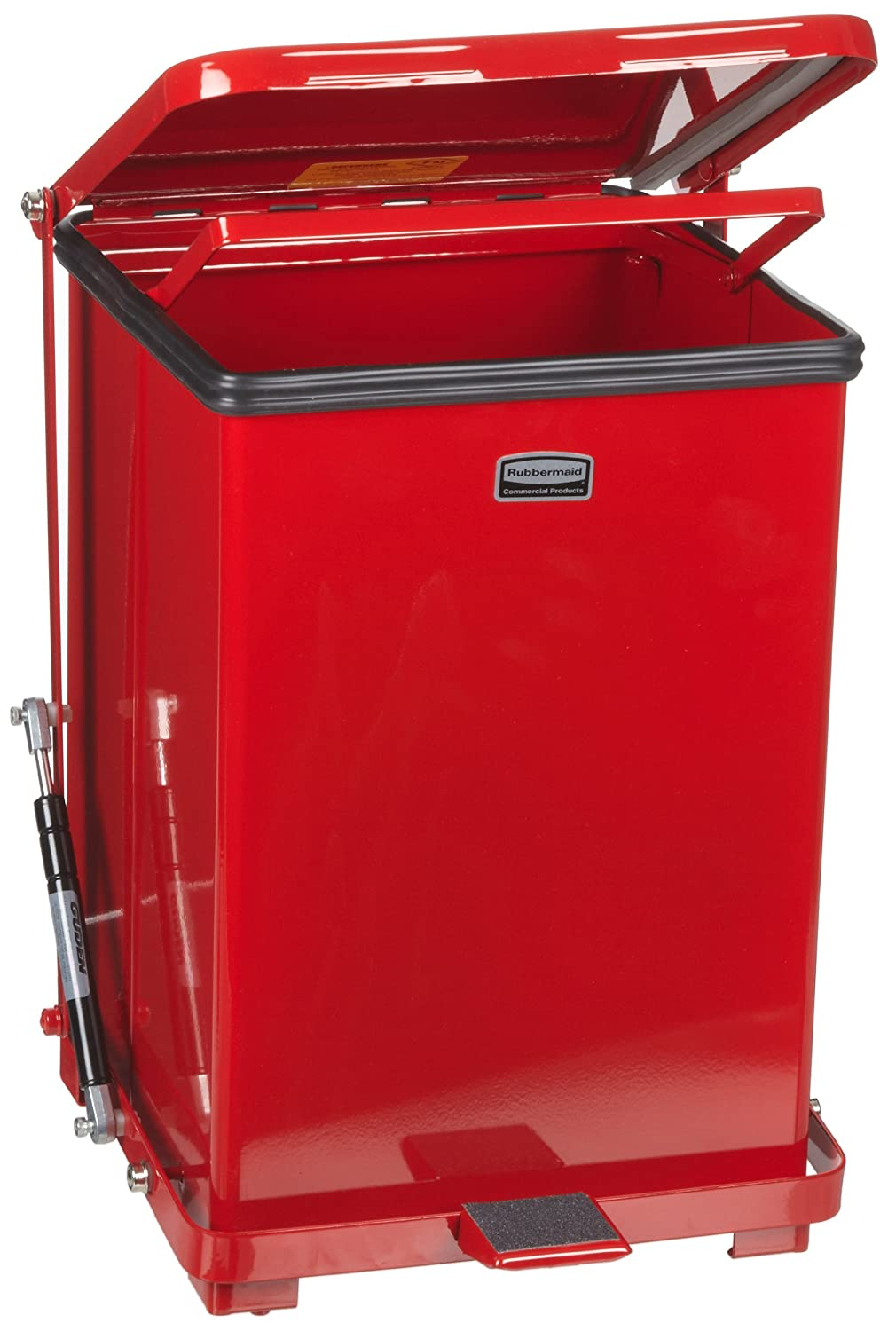 40-gallon Rubbermaid Commercial FGQST40ERBRD The Silent Defenders Steel Step Trash Can Square with Retaining Band Red