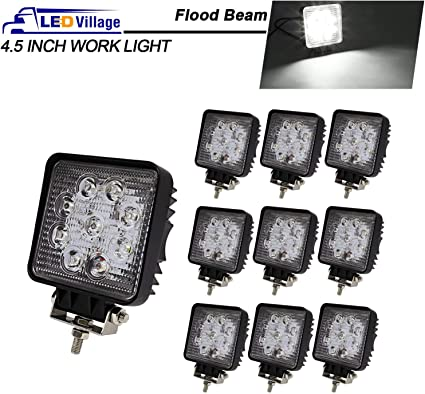 2X Square 27W Spot Beam Work LED Driving Light Truck ATV Boat Off road JEEP 4WD
