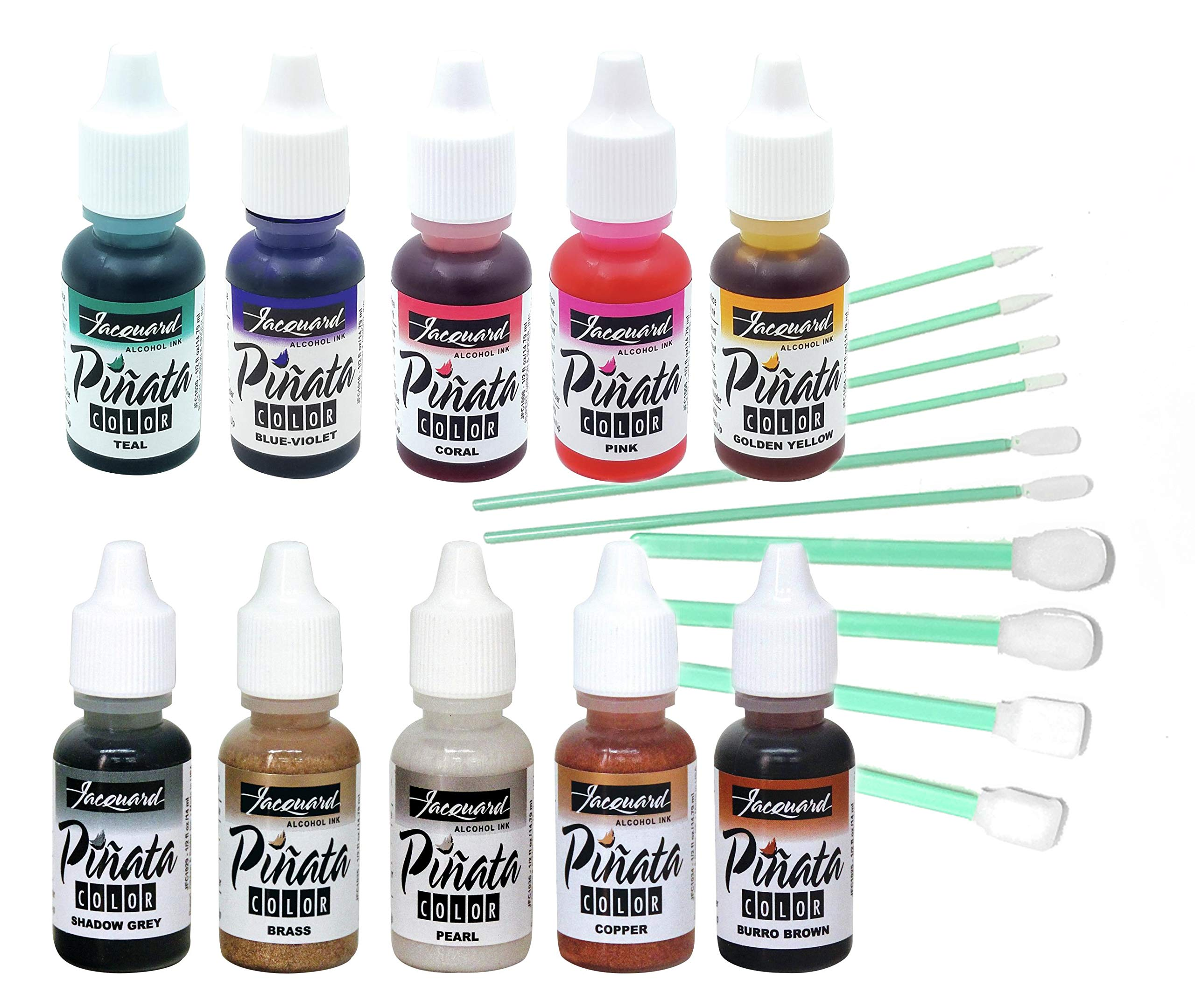 Jacquard Pinata 10 Color Bundle Alcohol Ink New 2019 Colors Golden Yellow, Pink, Coral, Blue Violet, Teal, Copper, Brass, Pearl, Shadow Grey, Burro Brown, with 10X Pixiss Blending Tools by GRAS Art Bundles