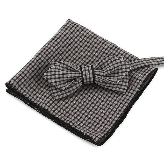 Segbeauty® Grey Pre-Atado Pajarita y Bolsillo Cuadrado Conjunto ...