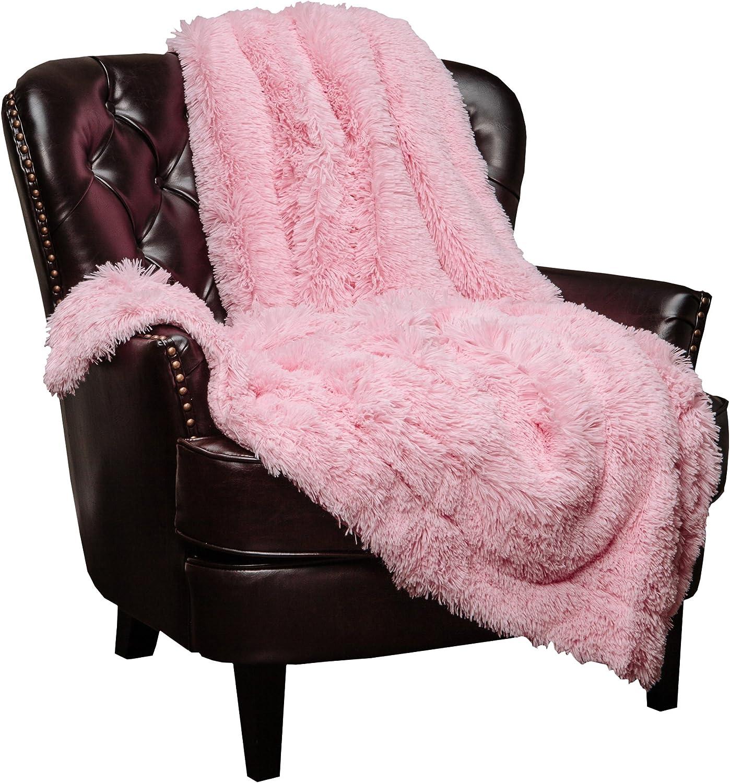 Chanasya Super Soft Shaggy Longfur Throw Blanket   Snuggly Fuzzy Faux Fur Lightweight Warm Elegant Cozy Plush Sherpa Fleece Microfiber Blanket   for Couch Bed Chair Photo Props - (50x65)- Pink