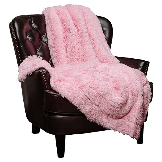 "Chanasya Super Soft Shaggy Longfur Throw Blanket | Snuggly Fuzzy Faux Fur Lightweight Warm Elegant Cozy Plush Sherpa Fleece Microfiber Blanket | For Couch Bed Chair Photo Props   50""X 65""   Pink by Chanasya"