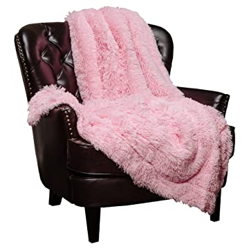 Chanasya Shaggy Longfur Faux Fur Throw Blanket - Fuzzy Lightweight Plush Sherpa Fleece Microfiber Blanket - for Couch Bed Chair Photo Props (50x65 Inches) Pink