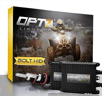 OPT7 ATV Side AC HID Kit 9005 HB3 8000K 8K Blue Headlight Xenon Light Bulbs UTV