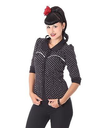 69b8c809afff0c SugarShock Damen Rockabilly Bluse Raquel gepunktet, Größe:S, Farbe:Schwarz