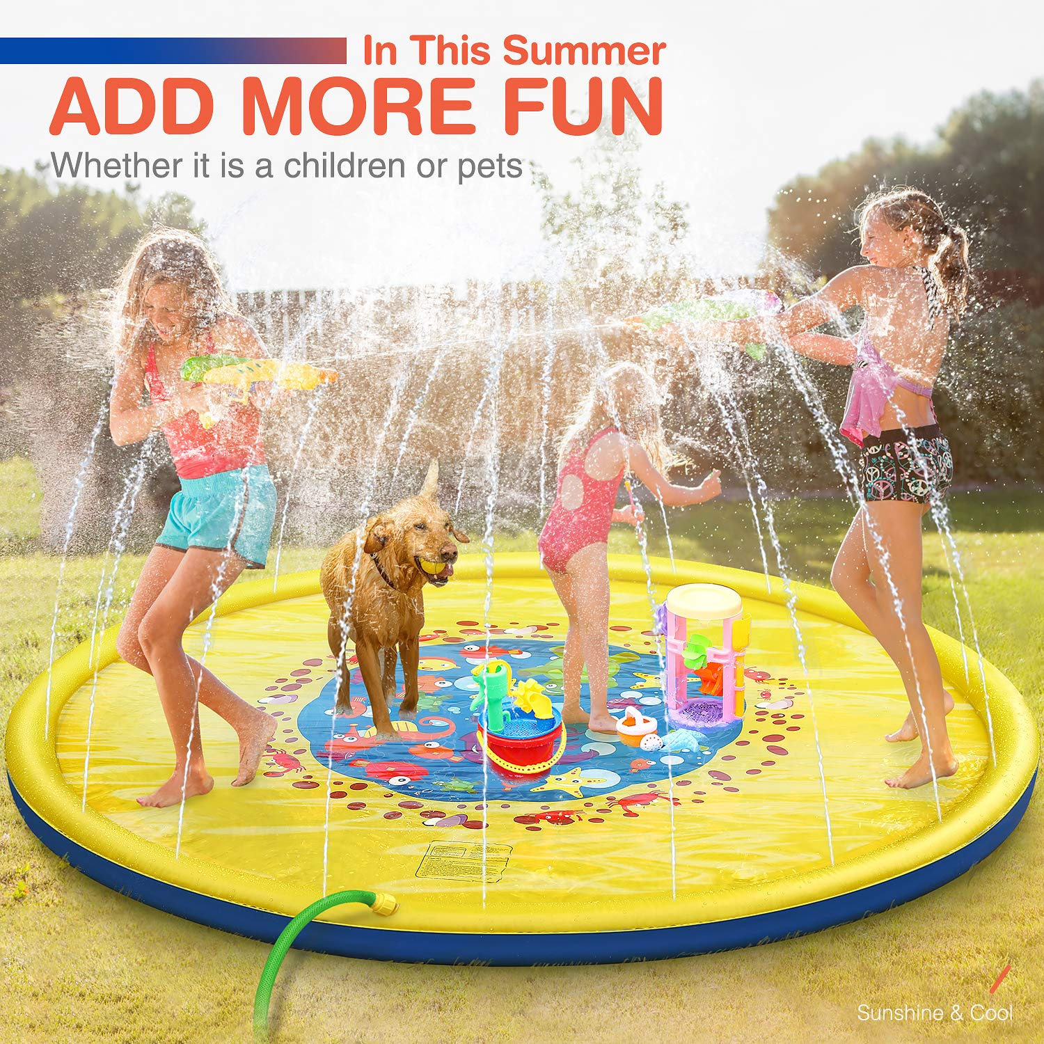 Splash Pad, 69 Inches No More Burst Sprinkle and Splash Play Mat Sprinkler for Kids Boys Girls Fun Splash Play Mat Summer Outdoor Sprinkler Pad Party Water Toys Extra Large Children's Sprinkler Pool by tomser (Image #4)
