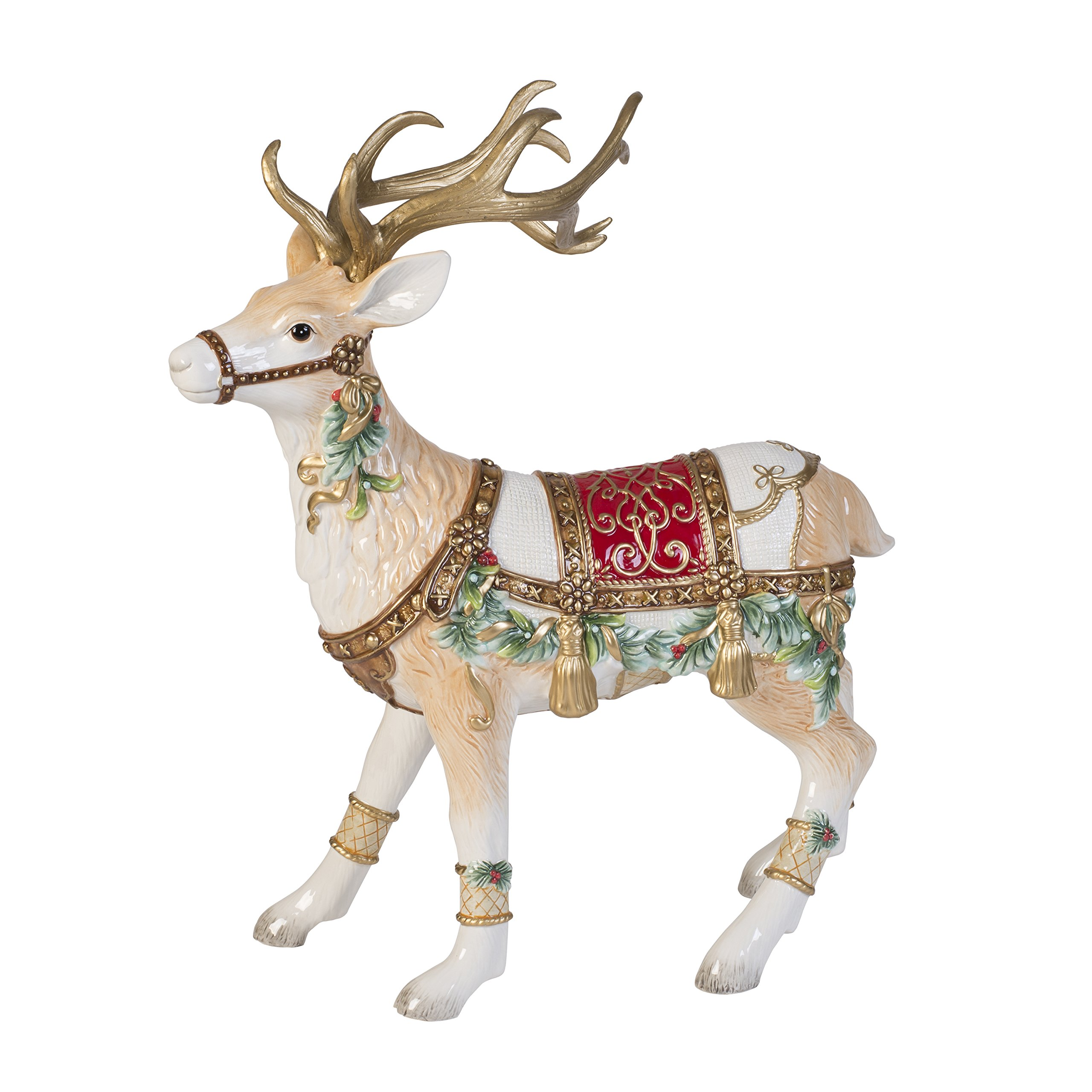 Fitz and Floyd Yuletide Holiday Collection Reindeer Figurine