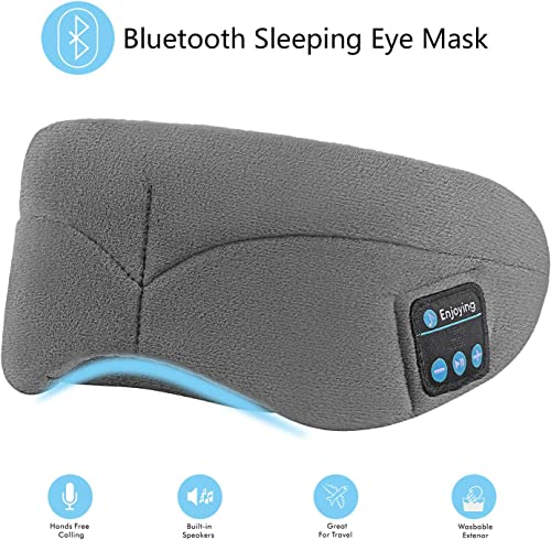 Bluetooth Sleeping Eye Mask with Wireless Headphones,ERNSTING Wireless Bluetooth Music Headset with Adjustable Built-in Speaker and Microphone Calls Washable Perfect for Travel and Sleep Grey