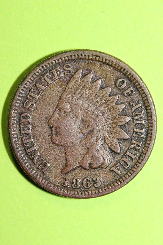1863 U.S Copper Nickel Indian Head Cent Full LIBERTY Full Rim 1c Fine to XF