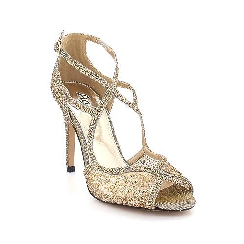 bf19b9205d0f AARZ LONDON Women Ladies Diamante Evening Wedding Party Prom Bridal Peeptoe High  Heel Pewter Sandals Shoes