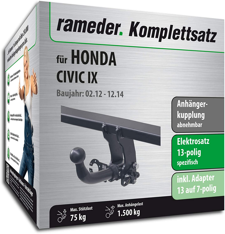 Anh/ängerkupplung abnehmbar Rameder Komplettsatz 114066-09999-1 13pol Elektrik f/ür Honda Civic IX