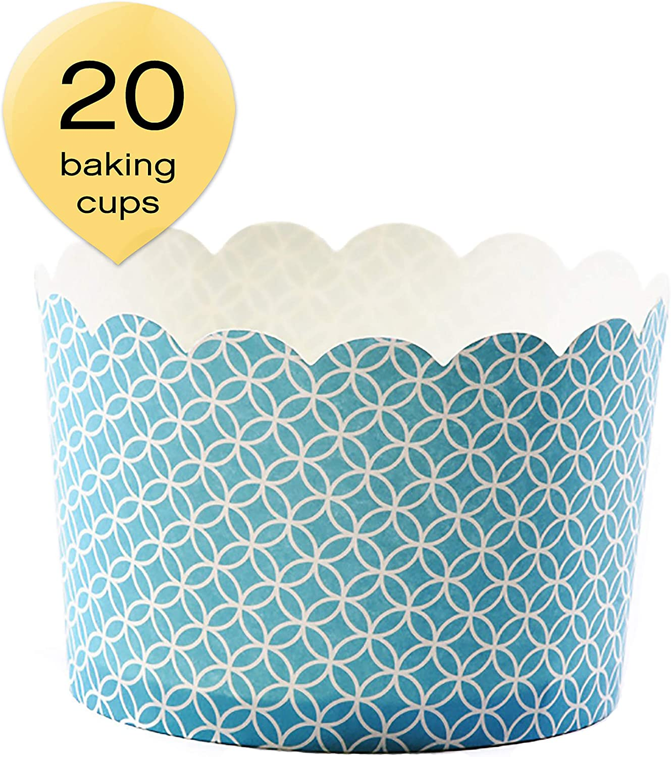Amazon Com Simply Baked Jumbo 8 Ounce Disposable Paper Baking Party Treat Candy Cupcake Muffin And Snack Cups 20 Pack Turquoise Medallian Kitchen Dining