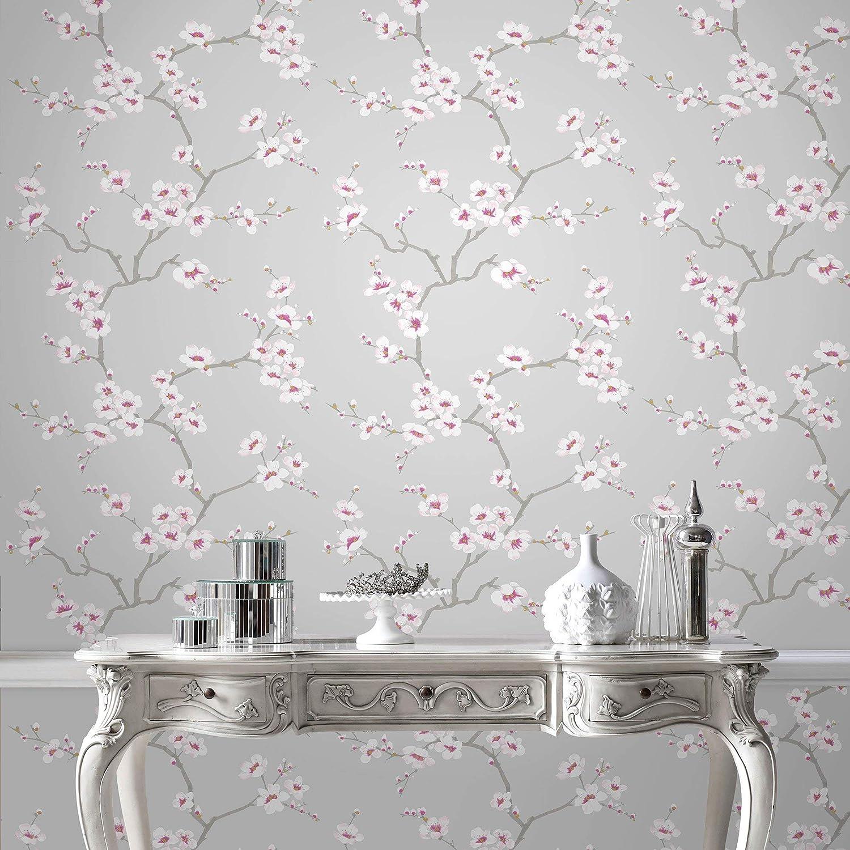 Fresco Great Value Apple Blossom Tree Grey Wallpaper