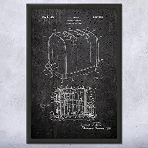 Patent Earth Framed Sunbeam Radiant Control Toaster Print, Kitchen Art, Cooking Gift, Toaster Blueprint, Restaurant Decor, Chef Gift