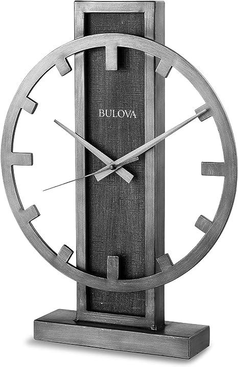 Bulova B1864 Streak Tabletop Clock Aged Silver Tone Home Kitchen