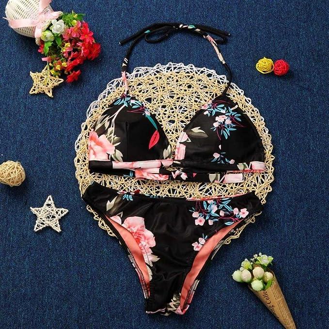 967cac0fa364f TRENDINAO Women Hot Sexy Padded Bra Printed Halter Bikini Swimwear Set at  Amazon Women s Clothing store