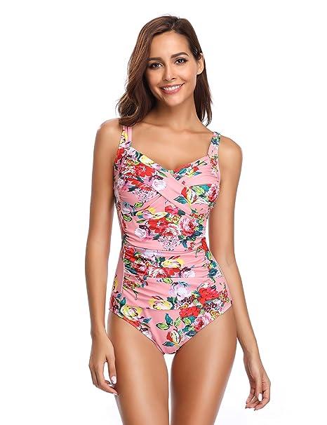 LALAVAVA Traje de Baño una Pieza Mujer Monokini Vintage Control de Vientre Tallas Grandes Bañador (
