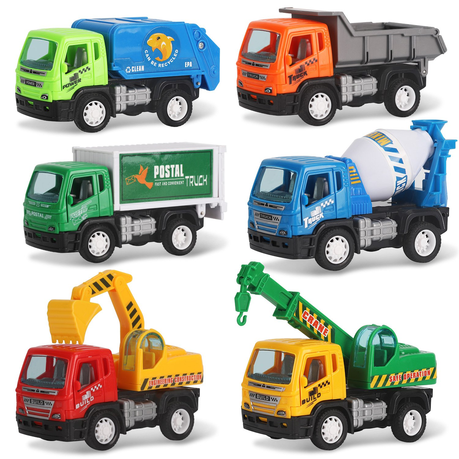 Liberty Imports Set of 6 Pullback City Builder Construction Vehicles for Kids - Dump Truck, Cement Mixer, Garbage Truck, Excavator, Crane, Postal Truck