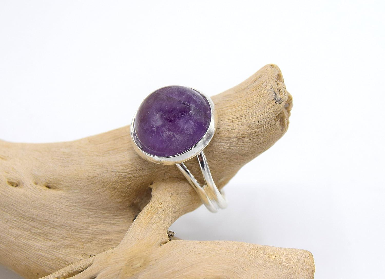 Anello in argento con ametista, anello in pietra ametista regolabile - gioielli in pietra naturale