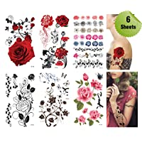 Supperb Mix Flower Temporary Tattoos / 6-pack
