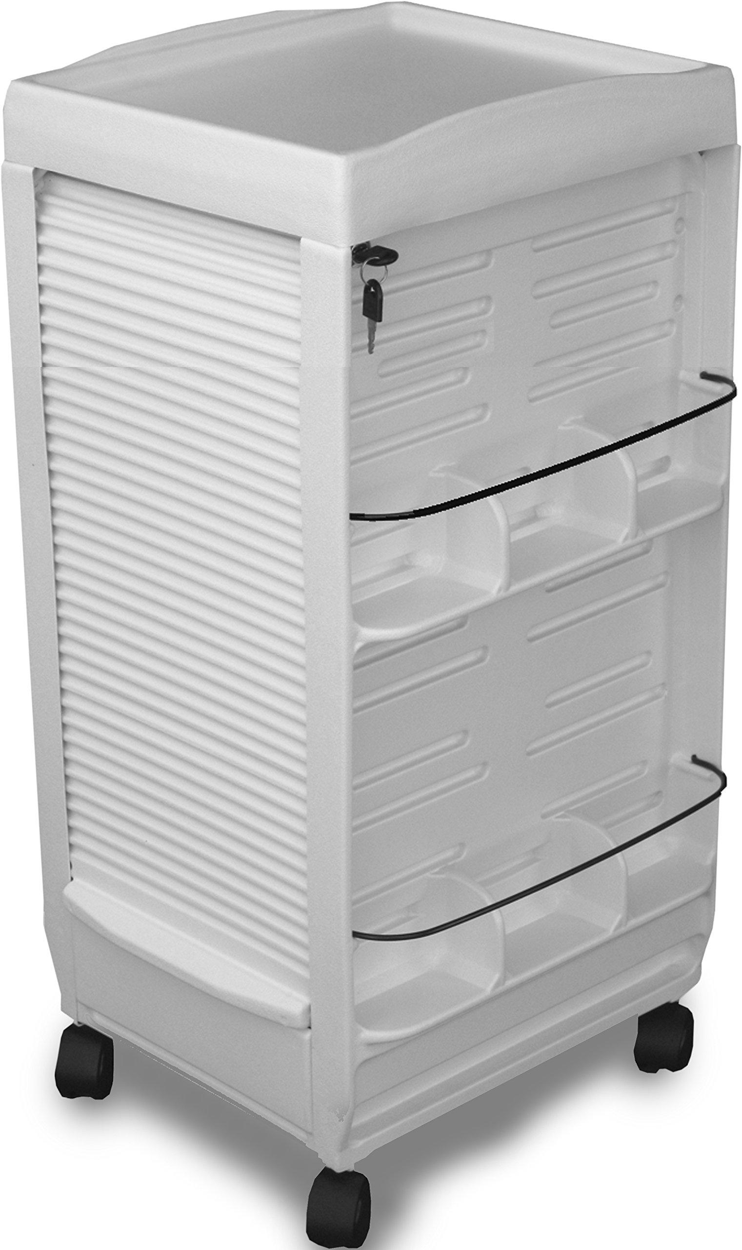 C185E Prime Medical Dental Mini Lockable White Cart 30''H Made in USA by Dina Meri