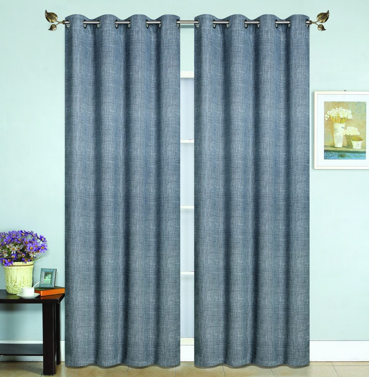 All American Collection New 2 Panel Printed Woven Design 99% Guarantee Blackout Curtain Set Charcoal