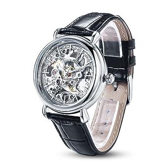 Damenuhren schwarz silber  TIME100 Muttertag Damenuhr mechenische Skelett Uhr Automatik Leder ...