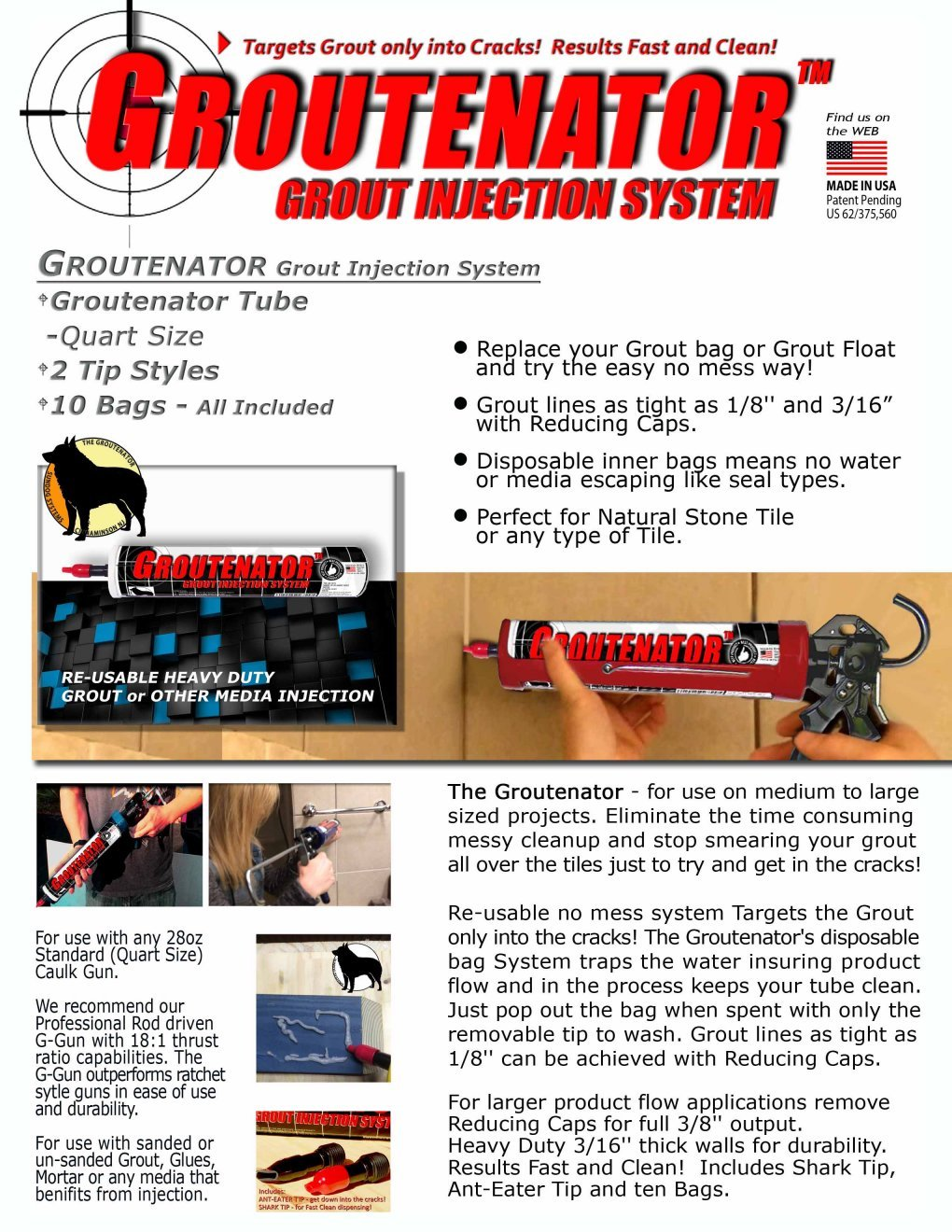 GROUTENATOR - Caulk Gun Injection System for Tile Grout, Mortar, Cement, Glues and more... Grout Bag and Float Replacement. by Sundog Systems (Image #3)