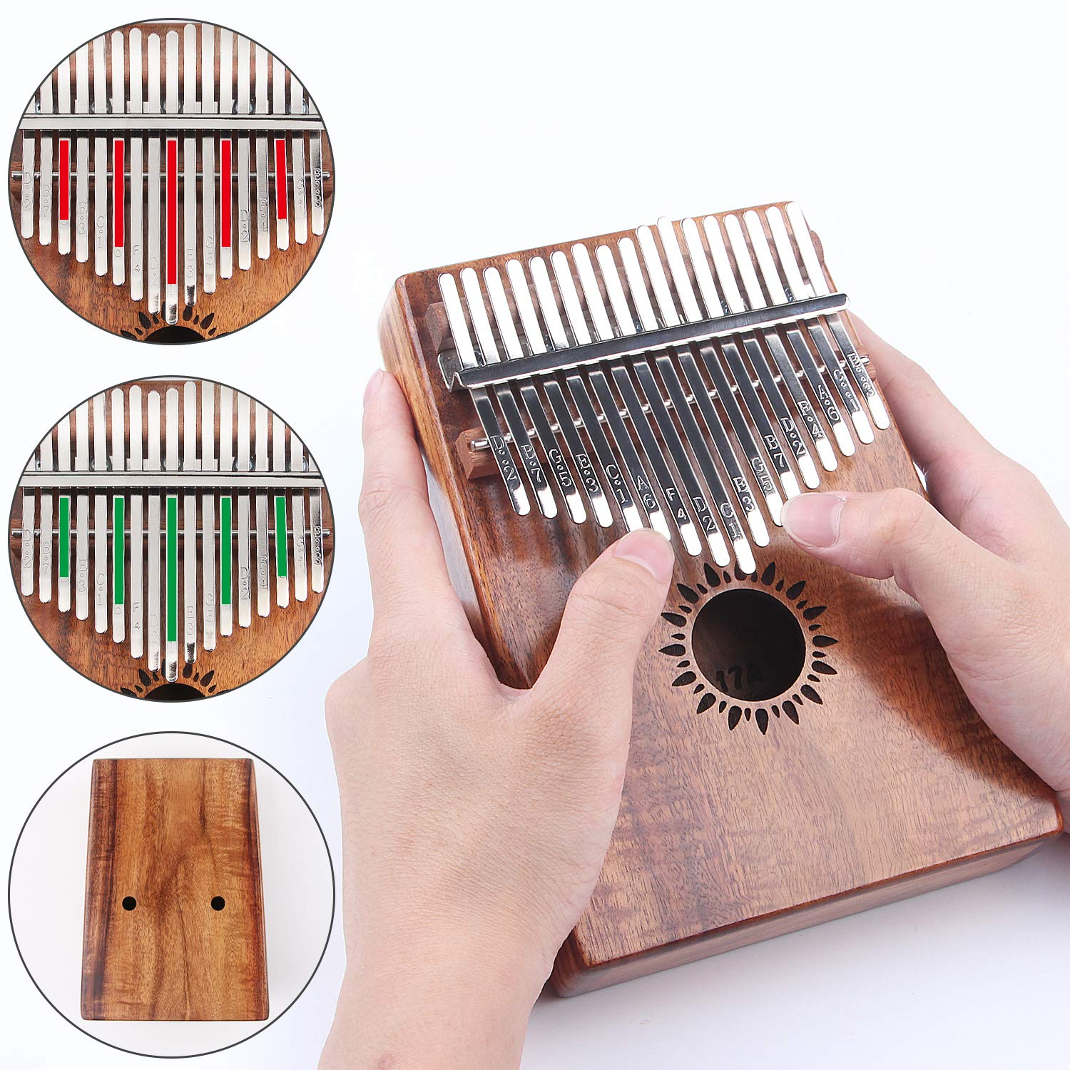 Kalimba Thumb Piano 17 Key, Portable Mbira Wood Finger Piano with 2 Bag and Sheet Music, Gifts for Kids Adult Beginners Professionals by HONHAND (Image #6)