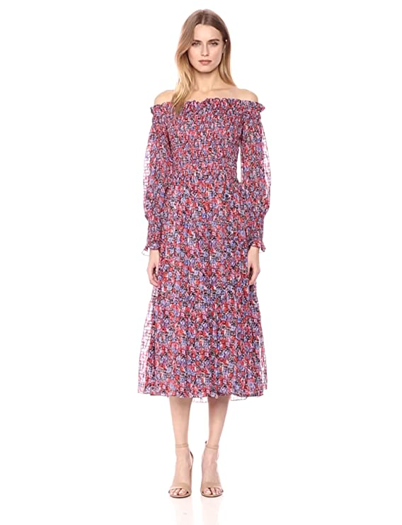 2d7eb69dca05 Amazon.com  Rebecca Taylor Women s Off-Shoulder Cosmic Floral Dress   Clothing