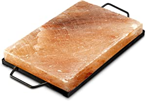 Tiabo Himalayan Salt Plate & Stainless Steel Holder, Salt Slab Block, for Grilling, Searing, Chilling, Cutting Seasoning & Serving, 12x8x1.5 inch
