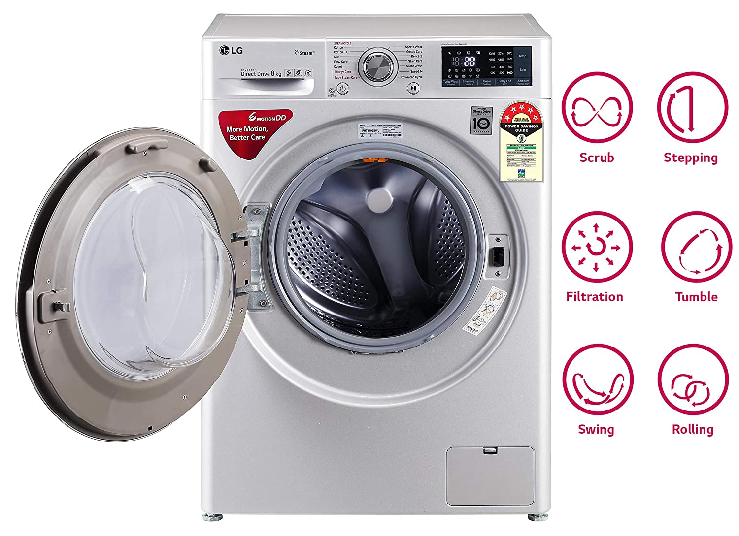 6 directions of the 6 Motion Direct Drive Technology of LG washing machine.
