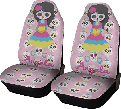 RNK Shops Kids Sugar Skulls Car Seat Covers Set Of Two Personalized