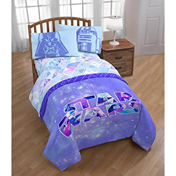 D.I.D. 4 Piece Kids Girls Pink Purple Star Wars Comforter Twin Set, Vibrant  Colorful Starwars