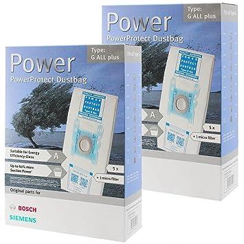 10 bolsas y filtros de aspiradora Bosch, bolsas PowerProtect ...