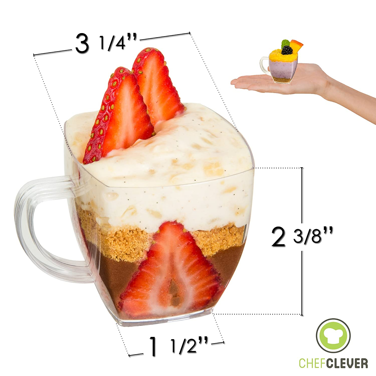 DLux 50 x 3 oz Mini Dessert Cups with Spoons Small Disposable Reusable Serving Bowl for Tasting Party Desserts Appetizers With Recipe Ebook Clear Plastic Parfait Appetizer Cup Small Swirl