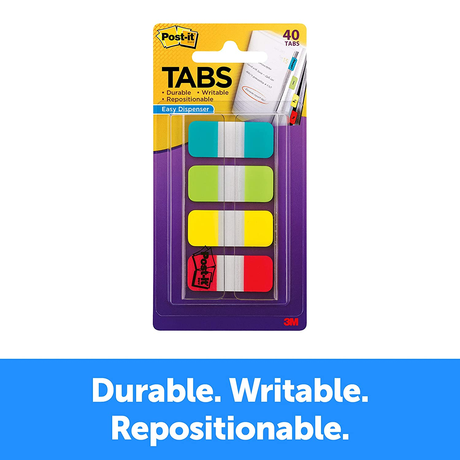 Post-it Tabs.625 in. Solid, Aqua, Lime, Yellow, Red, Durable, Writable, Repositionable, Sticks Securely, Removes Cleanly, 10/Color, 40/Dispenser, (676-ALYR)