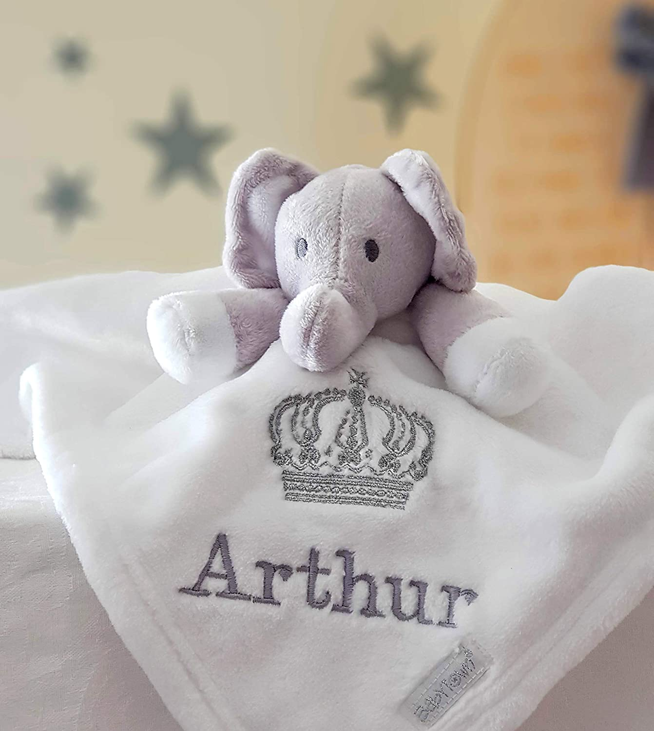 Personalised White Elephant Comforter Blanket / Soother Blanket / Royal Crown Blanket / New Baby Gift / Personalised Comforter