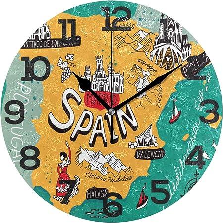 BONIPE Reloj de Pared con diseño de Mapa de España y Dibujos Animados, de acrílico silencioso, de 10 Pulgadas, para decoración del hogar, Oficina, Escuela, Redondo, Arte: Amazon.es: Hogar