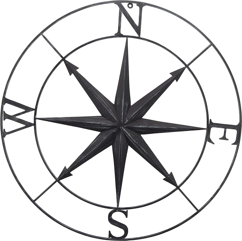 Bellaa 27451 Decorative Round Metal Compass Wall Decor Star 30 inch (black 27451, large)