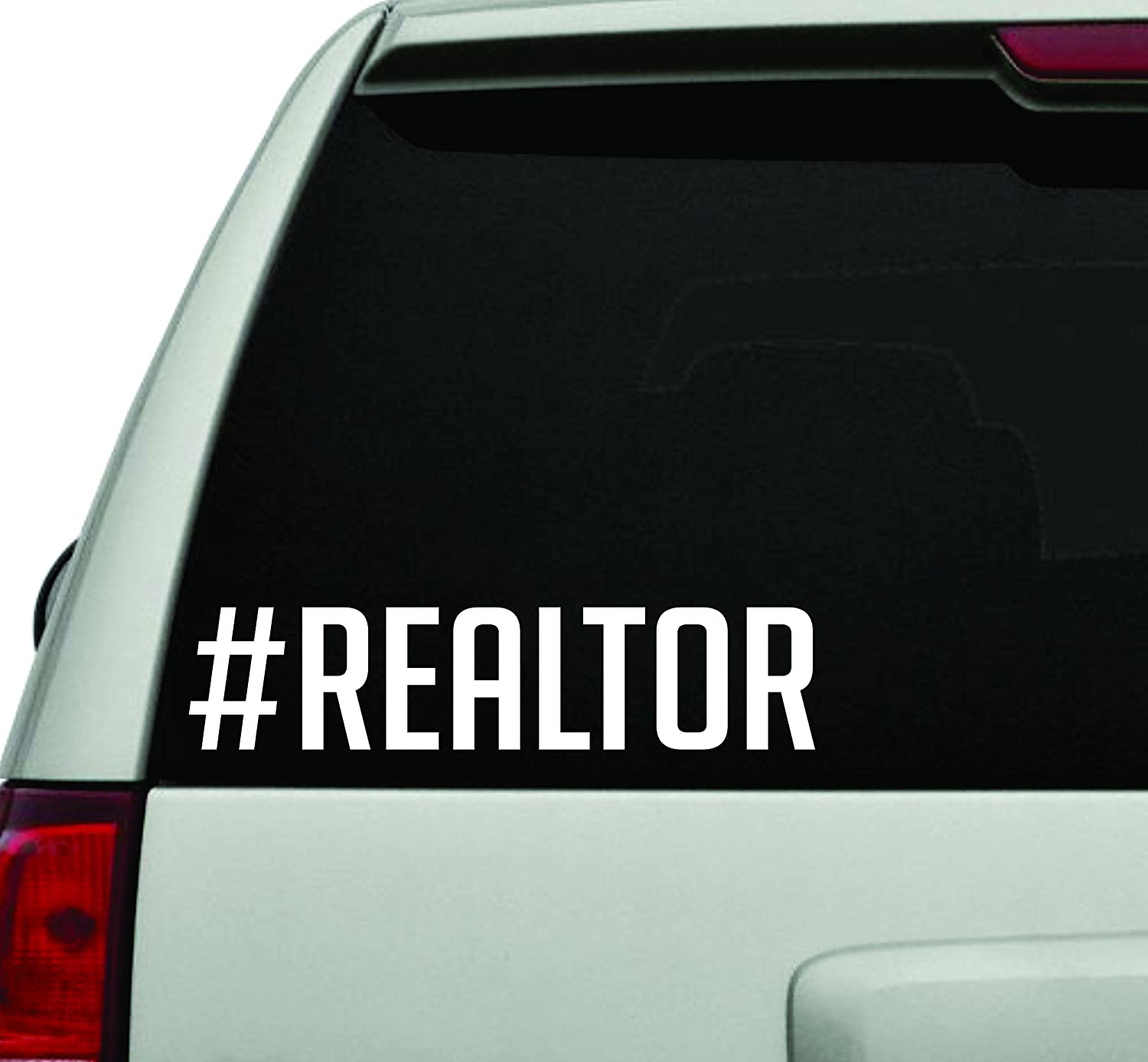 Hashtag realtor white version car window windshield lettering decal sticker decals stickers