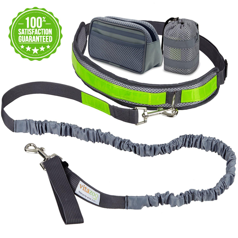 VITAZOO laisse pour chien jogging avec ceinture ventrale en gris royal, élastique 1,2 m – 2,0 m, avec bandes réfléchissantes, idéale pour chiens de taille moyenne à grande | avec 2 ans de garantie satisfaction | laisse jogging, courir et se promener à main