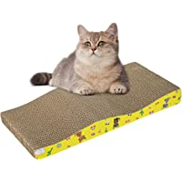 Welvan Cat Scratcher Cardboard Scratching Pad Kitten Scratching Board with Catnip Wave Curved Shape, Durable Texture…