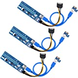 Longruner ライザーカード PCI-E Express 1x - 16x USB 3.0 エクステンダー ライザーカード アダプター (ビットコイン採掘)+ 20cm電源ケーブル+ 60cm USB 3.0延長ケーブル 新型 LK81-3