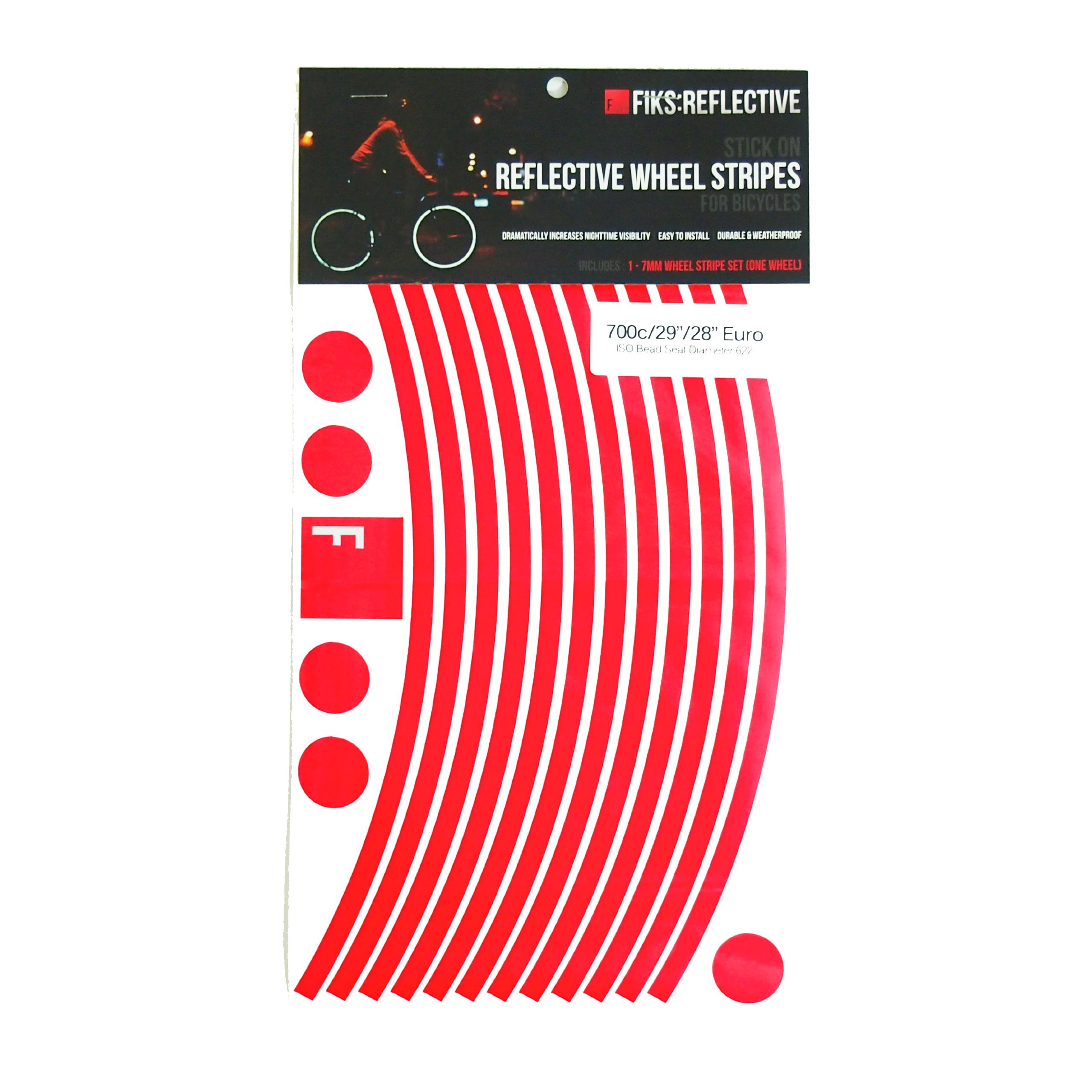 Reflective Stickers for Bicycle Wheels (Red, 29in 10mm disk breaks)